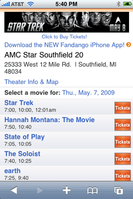 Fandango Mobile Site in Safari