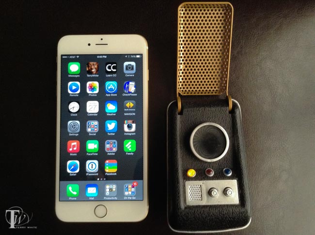 iPhone 6 Plus next to a Star Trek Communicator (T.O.S.)