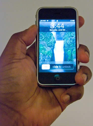 iPhone in Terry White's hand