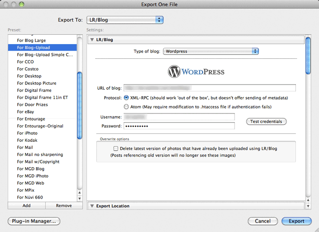 Add Images from Lightroom to your Wordpress Blog