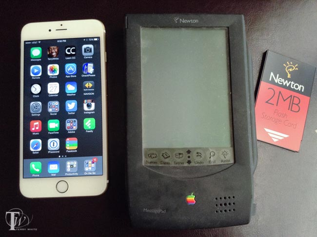 iPhone 6 Plus next to the original Apple Newton Message Pad. Yes Apple had a big screen mobile device before now