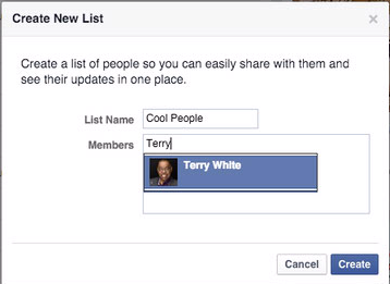 Facebook New List
