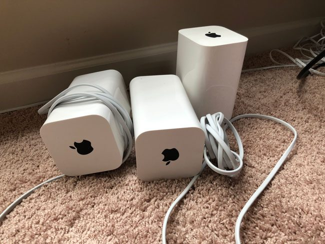 three AirPort Extreme Base Stations