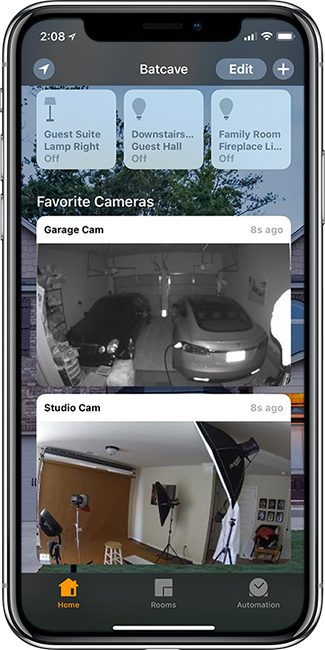 Logitech Logicircle 2 cams showing in the Apple Home App on iPhone X
