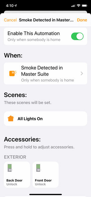 HomeKit - Smoke Detected Automation