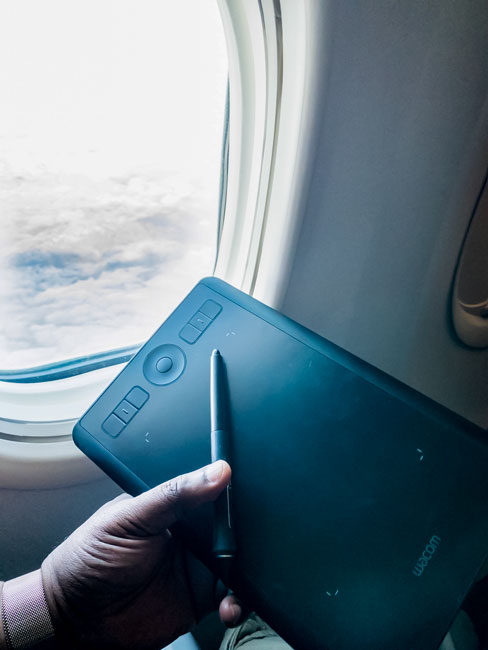 Holding the Wacom Intuos Small on a Plane