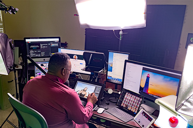 Terry White seated in his Live Streaming Studio